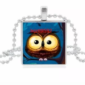Jewelry - Cute Baby Owl Silver and Glass Tile Necklace